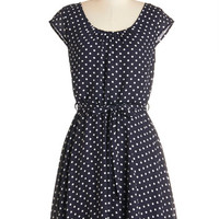 ModCloth Americana Mid-length Cap Sleeves A-line In the Winsome Circle Dress