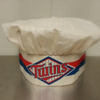 Vintage 60's 70's Minnesota Twins Chef Hat Made by Diana MLB Baseball Promotional Kitchenwear Velcro Back Made In USA