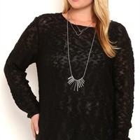 Plus Size Long Sleeve Pullover Cable Knit Sweater