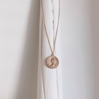 Italy Gold Round Coin Necklace