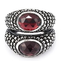 Ugo Cacciatori Double Garnet Stone Ring - Boutique Antonia - Farfetch.com