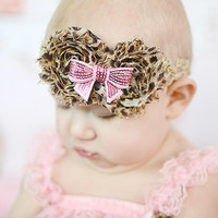 Shabby Cheetah Print Flower headband, Newborn headband, Baby girl Headbands, Toddler headband, Shabby Chic