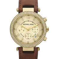 Michael Kors Women's Chronograph Parker Chocolate Brown Leather Strap Watch 39mm MK2249