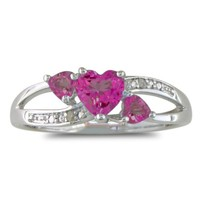 7/8ct Triple Heart Shaped Pink Topaz and Diamond Ring in Sterling Silver, Available Ring Sizes, Ring Size 6