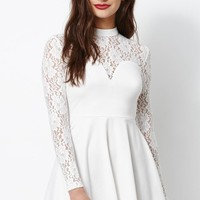 Kendall & Kylie Long Sleeve Lace Dress - Womens Dress - White