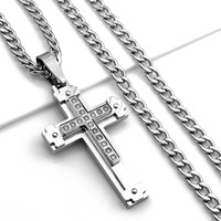 """24"""" MEN's Stainless Steel 6mm Silver Cuban Curb Chain Necklace Cross Pendant"""