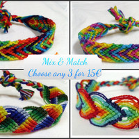 SALE Mix & Match Rainbow Macrame Knotted Friendship Bracelet - Woven Wristband  - Support our Cause