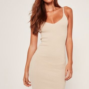 Missguided - Strappy Ribbed Mini Dress Camel