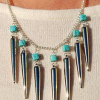 Silver Spike and Square Turquoise Bead Necklace from Black Tied