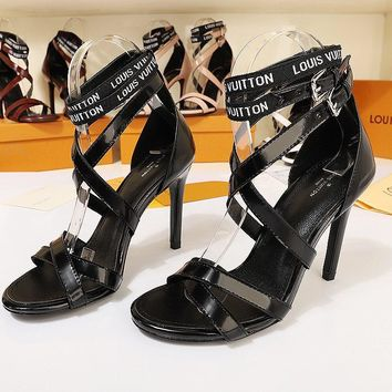 LV Louis Vuitton Women's Leather High-heeled Sandals