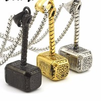 Stainless Steel Hammer Pendant Necklace Jewelry Thor God