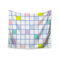 """Vasare Nar """"Pastel Windowpane Grid"""" Multicolor White Wall Tapestry"""