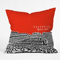 Bird Ave Wisconsin Badgers Red Throw Pillow