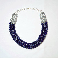 Navy Blue Statement Necklace, Navy and Silver Bib Necklace, Blue Wedding, Bridesmaid Necklace