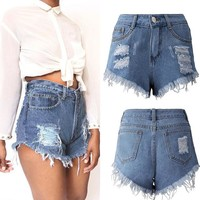 High Waist Slim Boyfriend Denim Jean Shorts