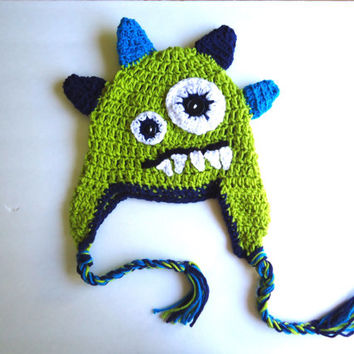 Crochet monster hat, baby boy hat, kids hats, earflap hat, crochet beanie hat, monster hat, photo prop, fall hat, christmas gifts