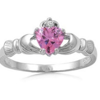 Sterling Silver Pink Topaz CZ Claddagh Ring Size 4-12