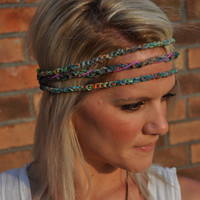 Crocheted Hippie Headband with Feather Detail