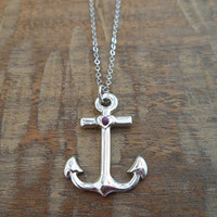 Shiny Silver Anchor Necklace   Candy's Cottage