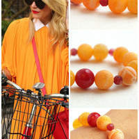 Orange Agate Bracelet. Frosted Stone. Small Red Ruby. Stack Statement Bracelet. Round Gemstone Beads. Fancy Large Stone Beads