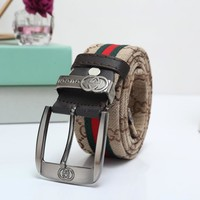 """Gucci"" Unisex Fashion Classic Multicolor Stripe Double G Letter Logo Needle Buckle Cloth Waistband Belt"