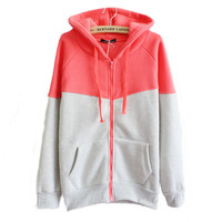 2016 new hit color stitching hooded cardigan  jacket zipper fleece pocket women Loose comfortable casual