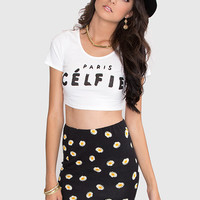 Paris Celfie Crop Top - White