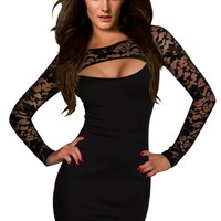 Amour-Sexy Flirty Black Strings One Shoulder Romper Clubwear Disco Gogo (LS802:Black Lace)