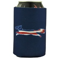 """Longshanks """"Drink for Your Country"""" Can Holder in Navy by Country Club Prep"""