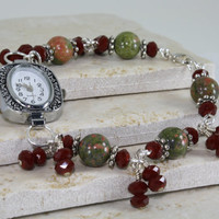 Red and Green Watch Bracelet with Red Crystals