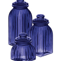 Navy Blue Glass Jar Set