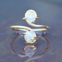 Opal Gold Toe Ring October Birthstone Crystals