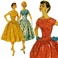 1950s Dress Pattern Bust 29 Simplicity 1539 Full Skirt Evening Cocktail Party Dress Fit and Flare Basque Waist Womens Vintage Sewing Pattern