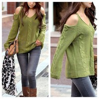 Cut Out shoulder sweater in Green