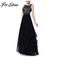 Sexy Womens Elegant Sleeveless Long Floor-Length Lace Backless Maxi Cocktail Party Ball Prom Gown Formal Dress Vestido De Festa