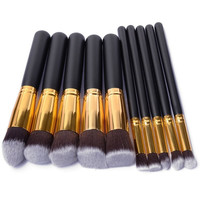 10 Pcs Silver/Golden Makeup Brush Set pincel maquiagem Cosmetics Foundation maquillaje Makeup Tool Powder Eyeshadow Cosmetic Set