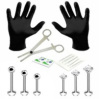 Professional Body Piercing Kit 14 Pieces for Labret Monroe Lip Surgical Steel 16G (1.2mm)
