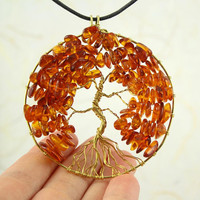 Amber Tree of Life gold-plated wire-wrapped pendant