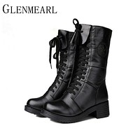 2017 New Women Boots Fall Winter Brand Tide Restoring Shoes Full Grain Leather Female Martin Boots Black Plus Size 40 ZK0.5