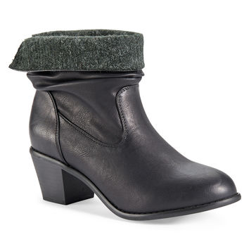 Faux Leather Sweater Western Bootie