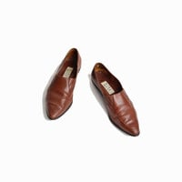 Vintage 90s Leather Shoes / Pointed Toe Skimmers / Brown Leather Shoes - women's 8