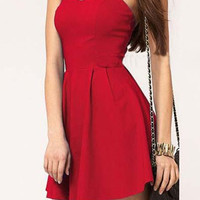 Red Backless Skater Dress