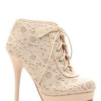 Glazed in Glitter Nude Floral Lace Platform Booties