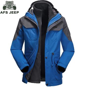 AFS JEEP Brand Clothing Men's Jacket Thermal Fleece Windproof Waterproof Jacket Outdoor Sports Camping Skiing Coat