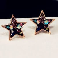 Retro Cute Star Shape Rhinestone Studs