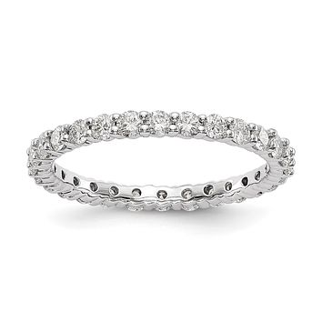 1.0ct Natural Diamond Wedding Ring Womens Stackable Eternity Band 14k White Gold
