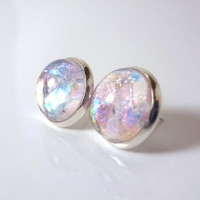 Rainbow Fairy Wings - Post Earrings - Color Changing Glitter Flake Holographic Handpainted - Silver Setting - Fake Plugs - Opal Style