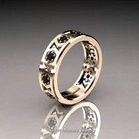 Womens Modern 14K Rose Gold Black Diamond Formal Wedding Band R535F-14KRGBD
