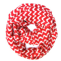 Red and Cream Chevron Infinity Scarf Womens Endless Loop Tube Scarf Chevron Printed Scarf Festive Fun Holiday Scarf Holiday Gift