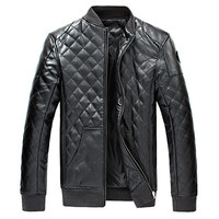 Slim Fit Mens Padded Leather Jacket